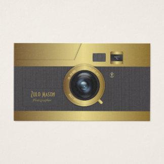 Vintage camera gold business card