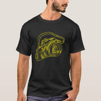 Vintage Camera in Yellow Lines T-Shirt