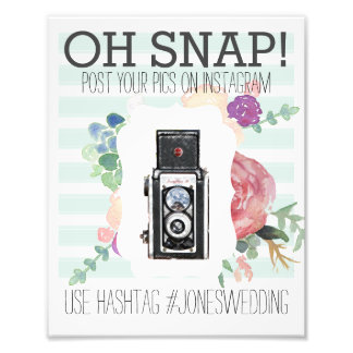 Vintage Camera Instagram Watercolor Hashtag Poster Photo Art