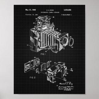 Vintage Camera Patent Poster Black Grid Background