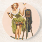 Vintage Camera Pinup girl Coaster