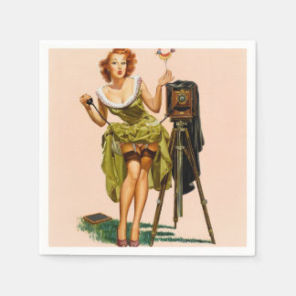 Vintage Camera Pinup girl Paper Napkin
