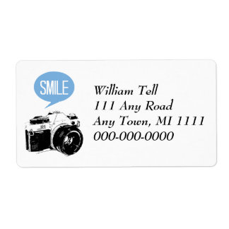 Vintage Camera, Smile Text Balloon, Photographer Shipping Label