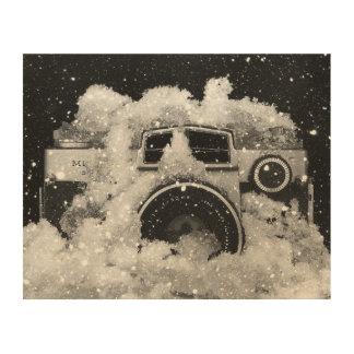 Vintage Camera Snow Storm Wood Wall Decor