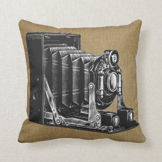 Vintage Camera with Burlap Background Throw Pillow