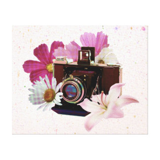 Vintage camera with flowers canvas print