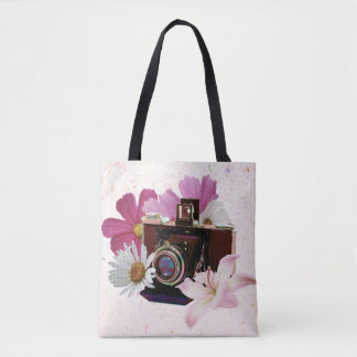 Vintage camera with flowers tote bag