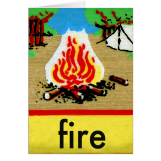 Vintage Camp Fire Spelling Alphabet F is for Fire Card