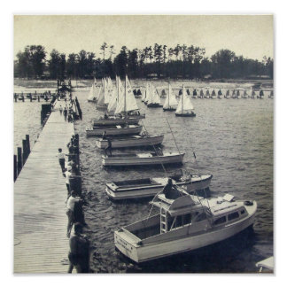 Vintage Camp Sea Gull Pier Photo Poster