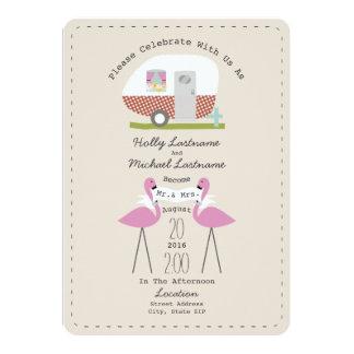 Vintage Camper And Flamingos Wedding Card