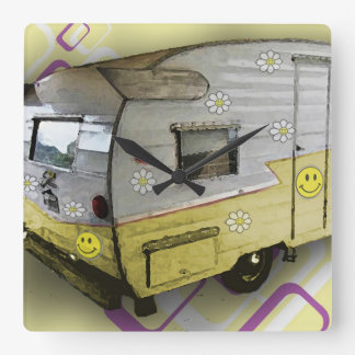 Vintage Camper Trailer Clock in Yellow