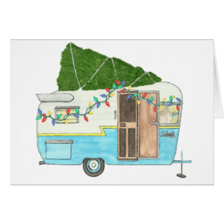 Vintage Camping Trailer Christmas Card