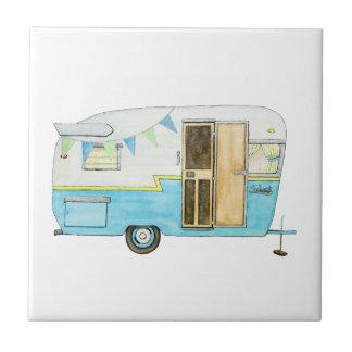 Vintage Camping Trailer Trivet Ceramic Tiles