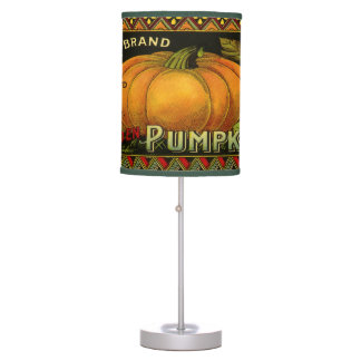 Vintage Can Label Art, Butterfly Pumpkin Vegetable Table Lamp