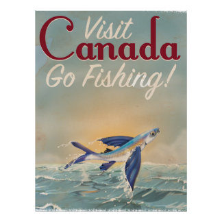 Vintage Canada Fishing travel poster