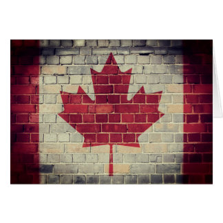 Vintage Canada flag on a brick wall Card