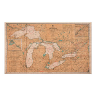 Vintage Canada Map of the Great Lakes Poster