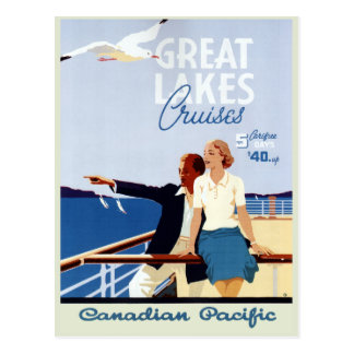 Vintage Canadian Cruise Line Great Lakes Travel Postcard
