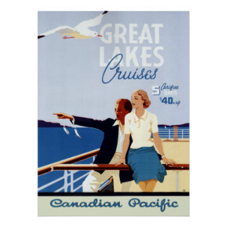 Vintage Canadian Cruise Line Great Lakes Travel Poster