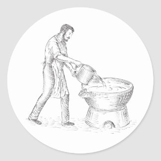 Vintage Candlemaker Foundry Drawing Classic Round Sticker