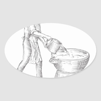 Vintage Candlemaker Foundry Drawing Oval Sticker