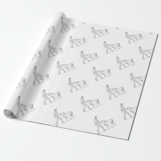 Vintage Candlemaker Foundry Drawing Wrapping Paper