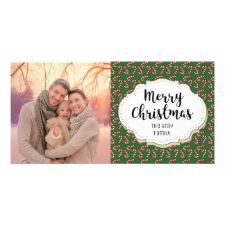 Vintage Candy Canes Christmas Picture Photo Card