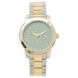 Vintage Candy Canes Pattern Wrist Watches