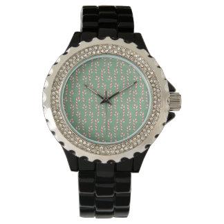 Vintage Candy Canes Pattern Wristwatch
