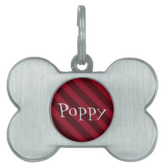 Vintage Candy Stripe Cranberry Red Grunge Pet ID Tags
