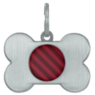 Vintage Candy Stripe Cranberry Red Grunge Pet Name Tag