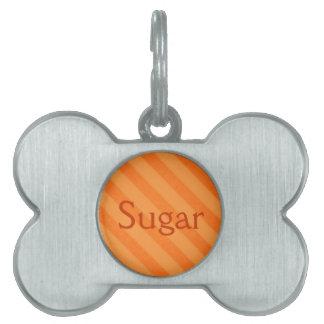 Vintage Candy Stripe Tangerine Orange Grunge Pet Name Tags