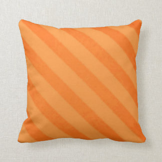 Vintage Candy Stripe Tangerine Orange Grunge Throw Pillow