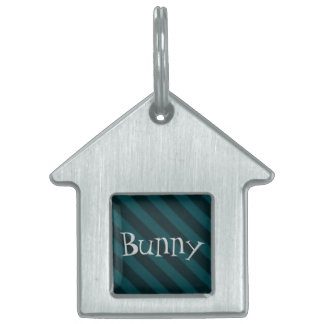 Vintage Candy Stripe Turquoise Teal Grunge Pet Name Tags