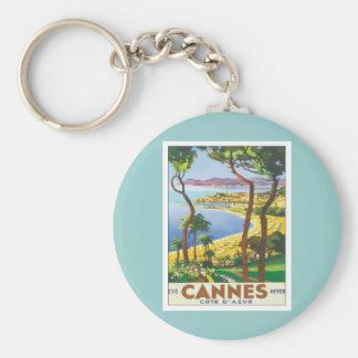 Vintage Cannes Cote D'azur Basic Round Button Keychain