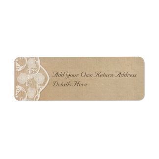 Vintage Canvas and Lace Look Return Address Labels