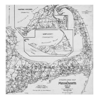 Vintage Cape Cod Cyclist Map (1893) BW Poster