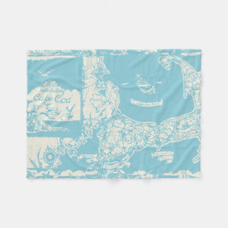 Vintage Cape Cod Map Fleece Blanket