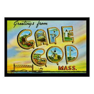 Vintage Cape Cod Mass. Art Deco Poster