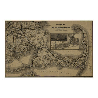 Vintage Cape Cod Railroad Map (1893) Poster