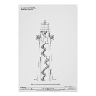 Vintage Cape Hatteras Lighthouse Blueprint 2 Poster