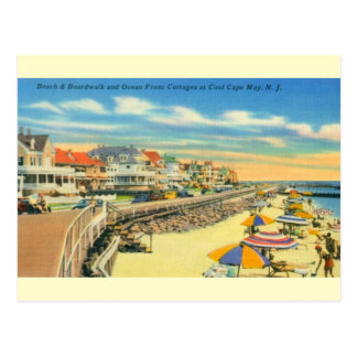 Vintage Cape May Beach and Boardwalk Postcard