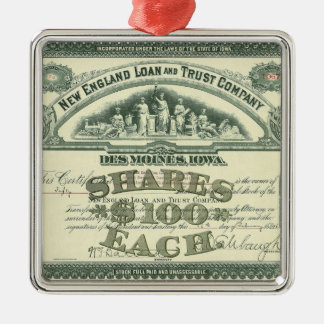 Vintage Capital Stock Certificate Business Finance Metal Ornament