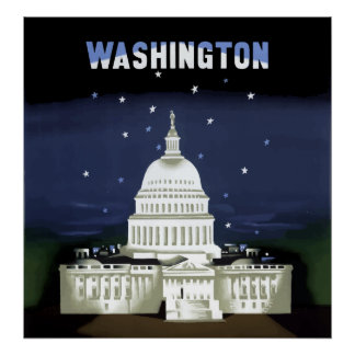 Vintage Capitol Building Washington DC Travel Poster