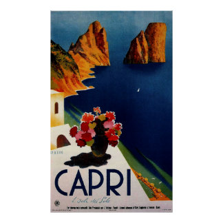 Vintage Capri French Travel Poster