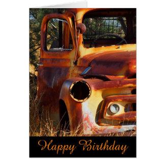 Vintage car blank birthday card