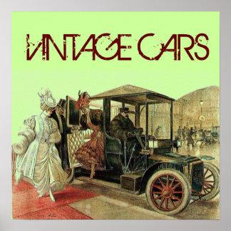 VINTAGE CAR, ELEGANT LADIES CLASSIC AUTO Red Green Poster