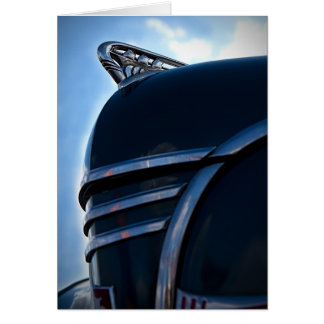 Vintage car hood ornament card