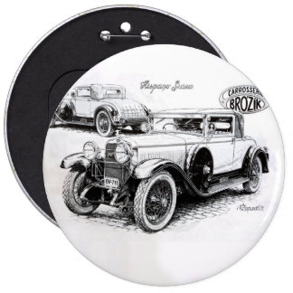 Vintage car illustration 6 inch round button