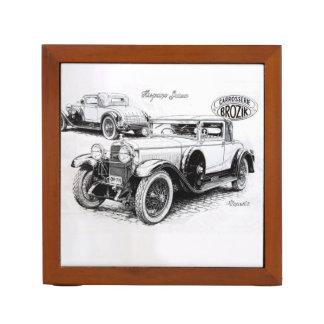 Vintage car illustration desk organizers